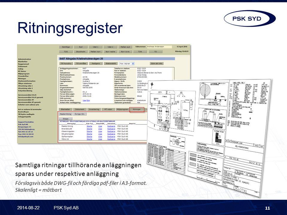 Ritningsregister Samtliga ritningar tillhörande anläggningen sparas under respektive anläggning.