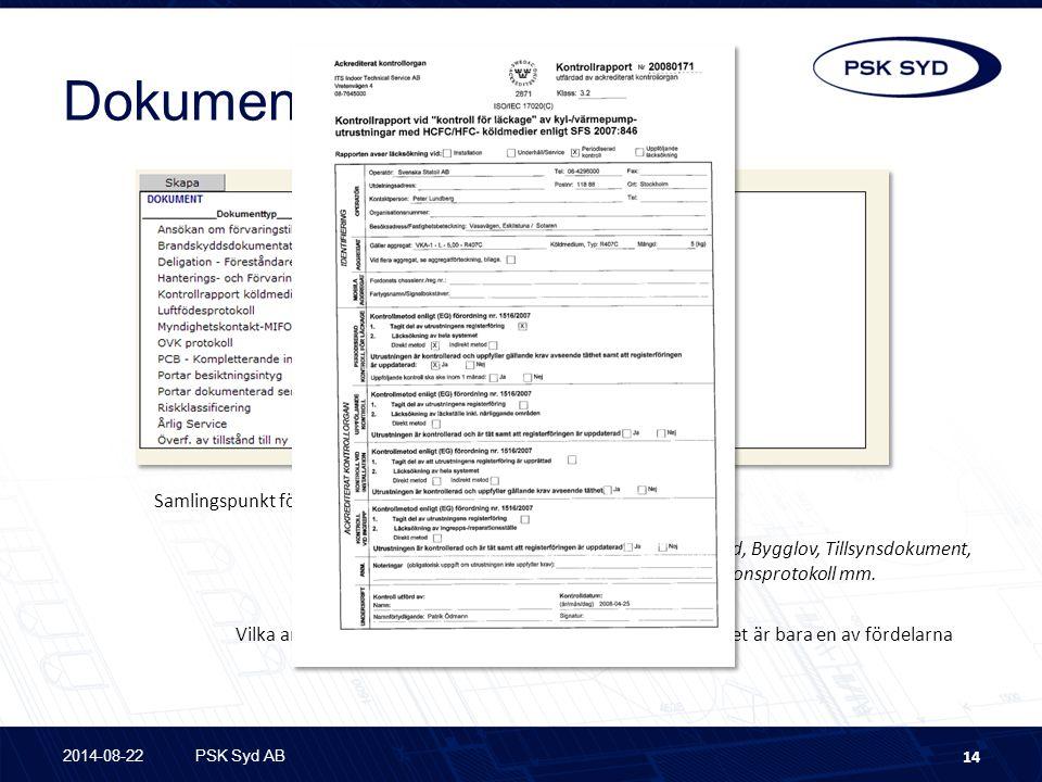 Dokument Samlingspunkt för dokument som relaterade till anläggningen.