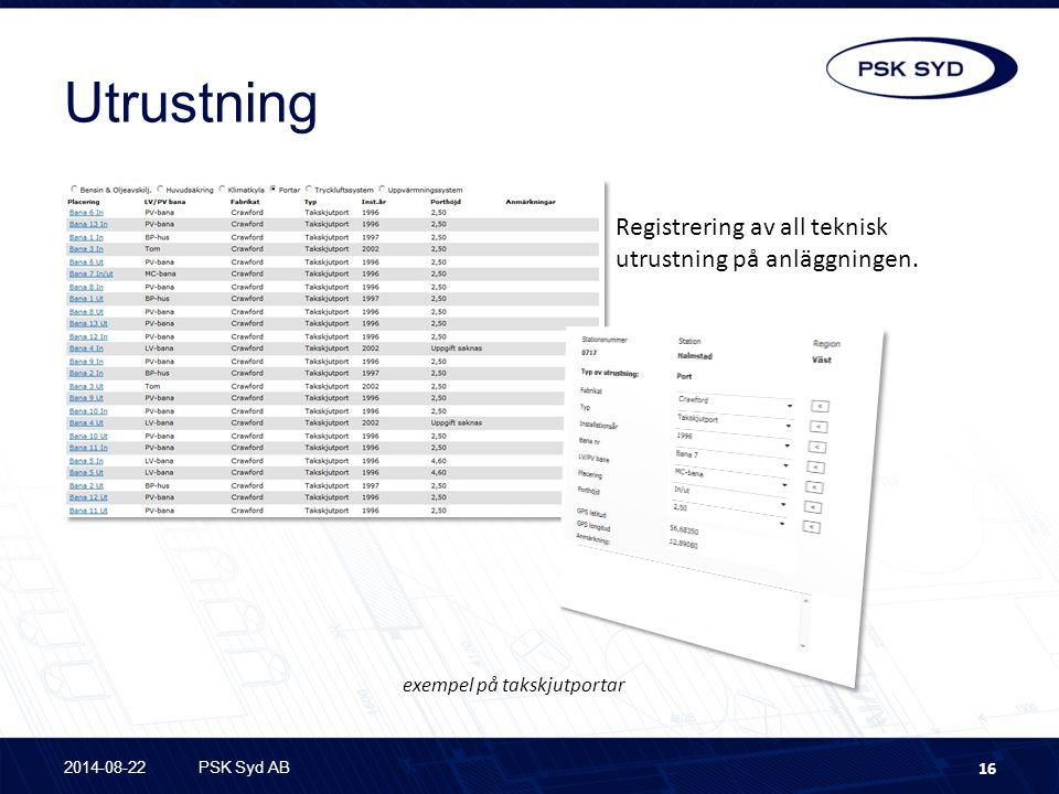 Utrustning Registrering av all teknisk utrustning på anläggningen.