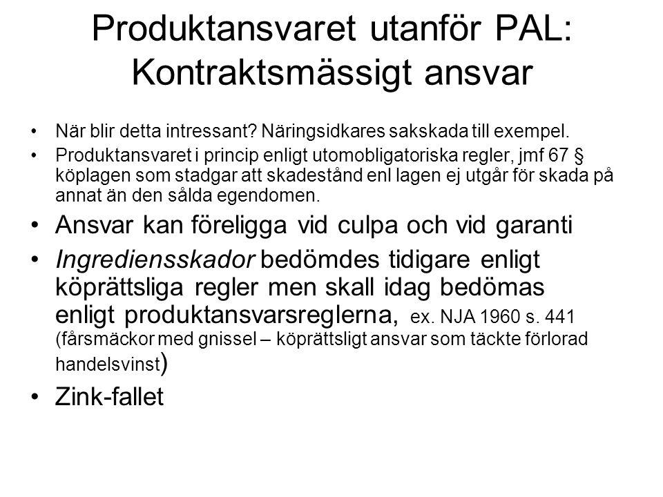 Produktansvaret utanför PAL: Kontraktsmässigt ansvar