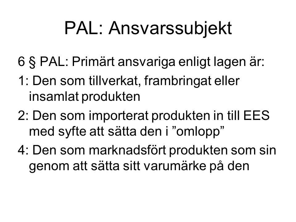 PAL: Ansvarssubjekt 6 § PAL: Primärt ansvariga enligt lagen är: