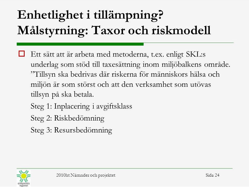 Enhetlighet i tillämpning Målstyrning: Taxor och riskmodell