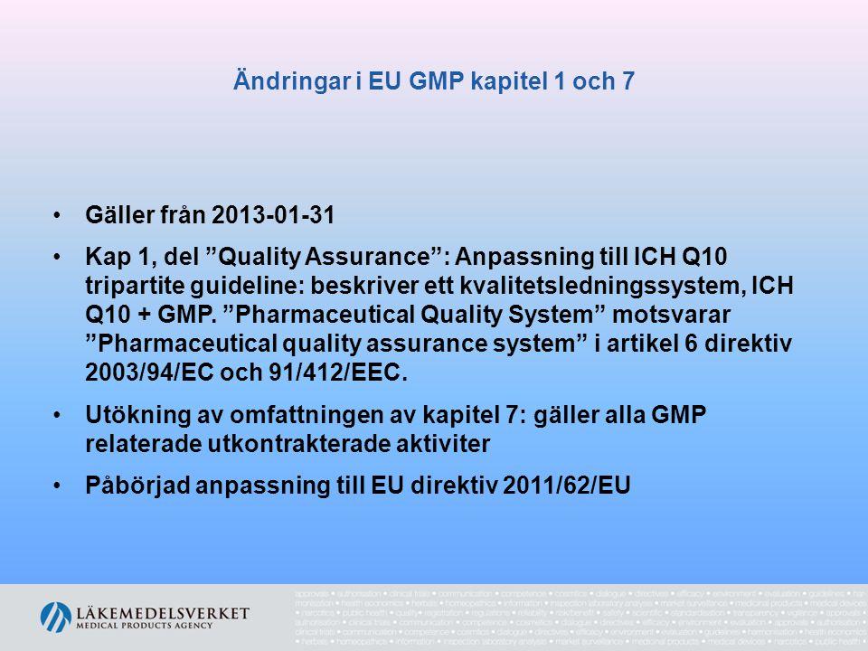 Ändringar i EU GMP kapitel 1 och 7