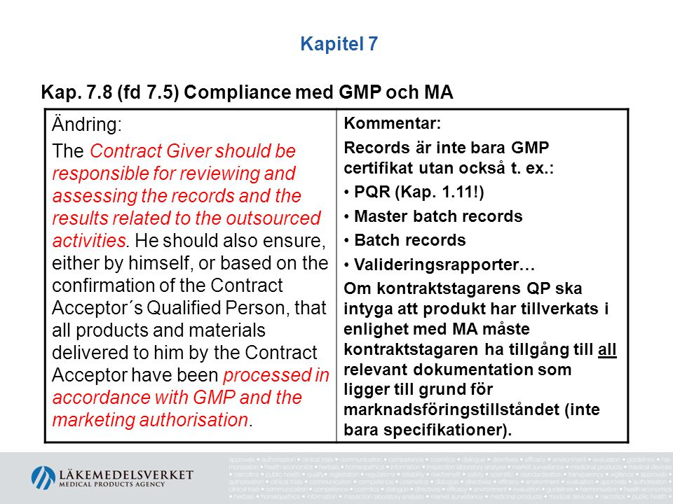 Kap. 7.8 (fd 7.5) Compliance med GMP och MA Ändring: