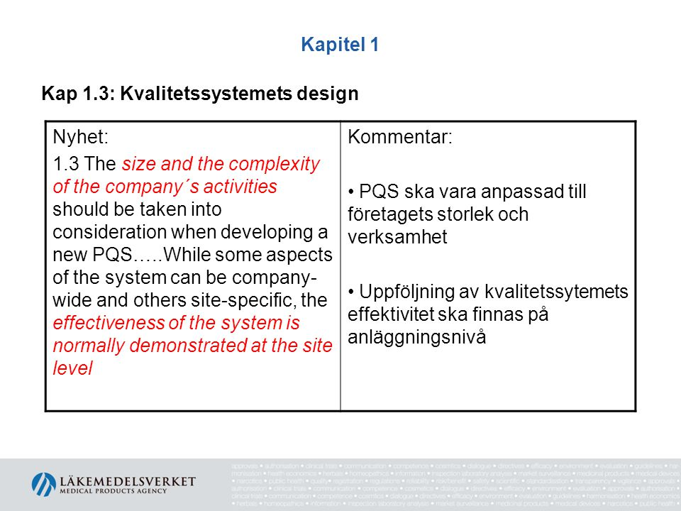 Kapitel 1 Kap 1.3: Kvalitetssystemets design. Nyhet: