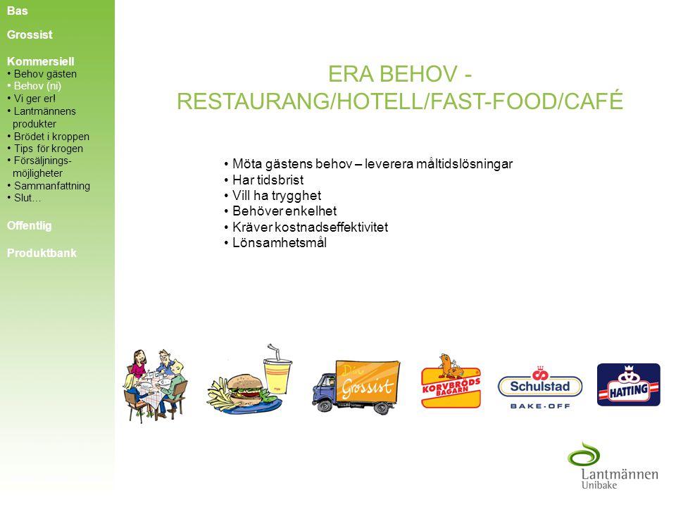 ERA BEHOV - RESTAURANG/HOTELL/FAST-FOOD/CAFÉ