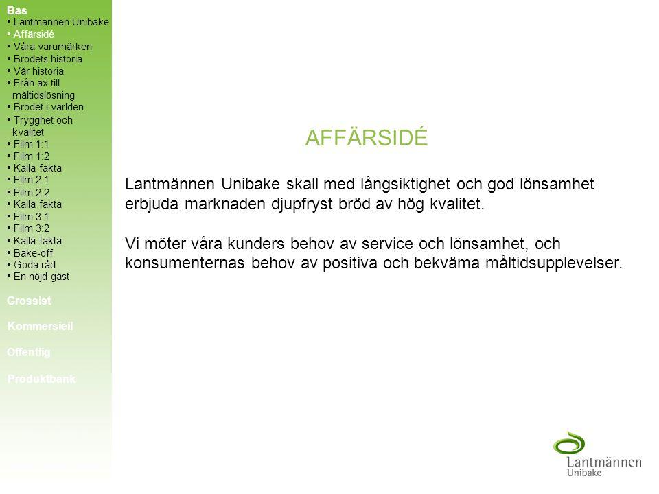 Bas Lantmännen Unibake. Affärsidé. Våra varumärken. Brödets historia. Vår historia. Från ax till måltidslösning.
