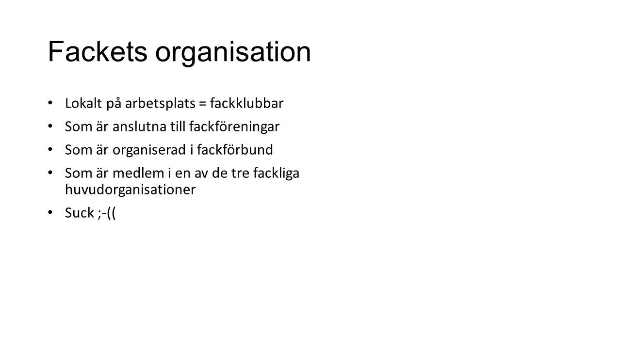 Fackets organisation Lokalt på arbetsplats = fackklubbar