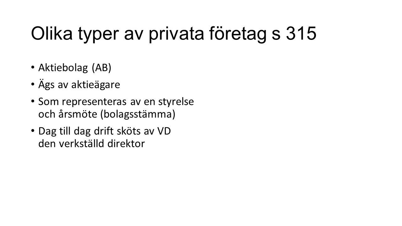 Olika typer av privata företag s 315