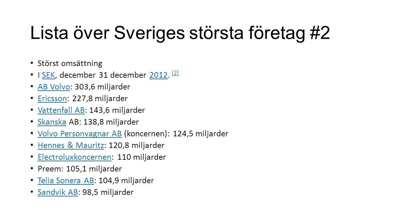 Lista över Sveriges största företag #2