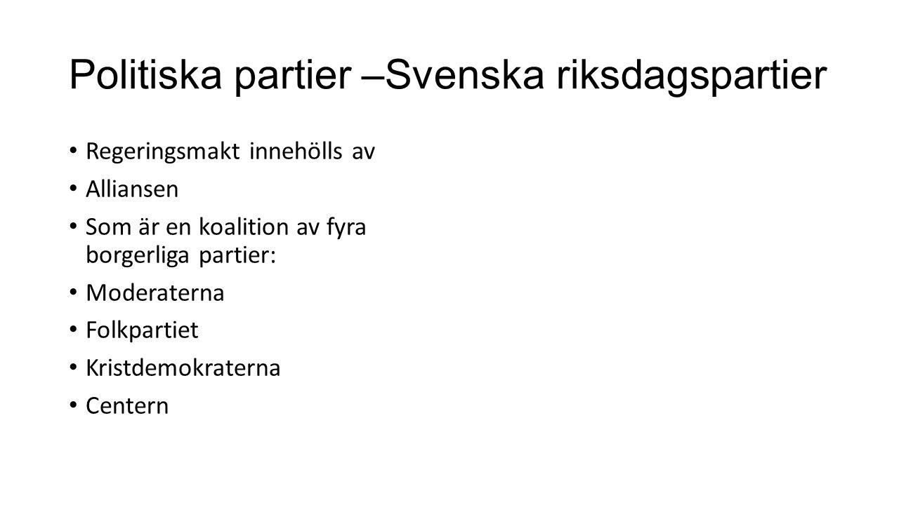 Politiska partier –Svenska riksdagspartier