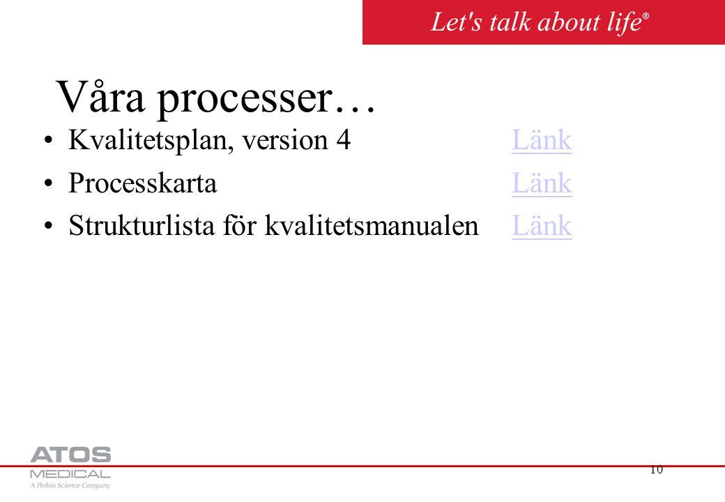 Våra processer… Kvalitetsplan, version 4 Länk Processkarta Länk