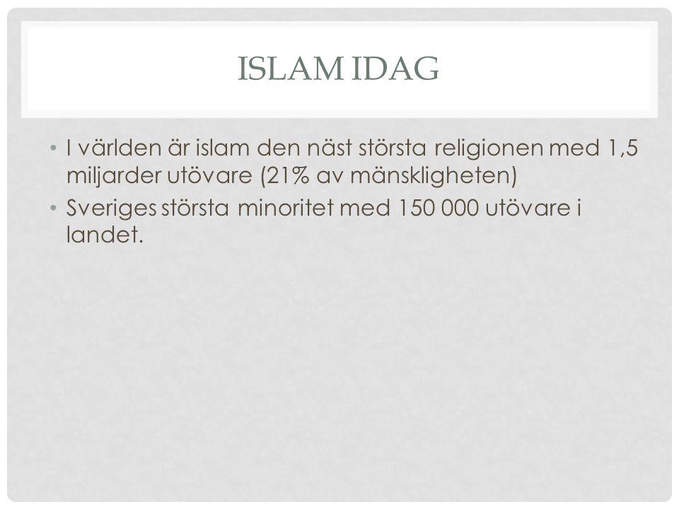 Islam idag I världen är islam den näst största religionen med 1,5 miljarder utövare (21% av mänskligheten)