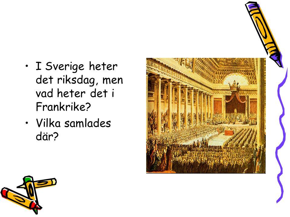 I Sverige heter det riksdag, men vad heter det i Frankrike