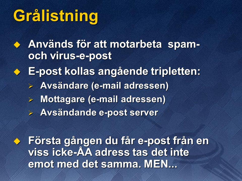 Grålistning Används för att motarbeta spam- och virus-e-post