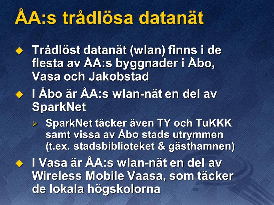 ÅA:s trådlösa datanät Trådlöst datanät (wlan) finns i de flesta av ÅA:s byggnader i Åbo, Vasa och Jakobstad.