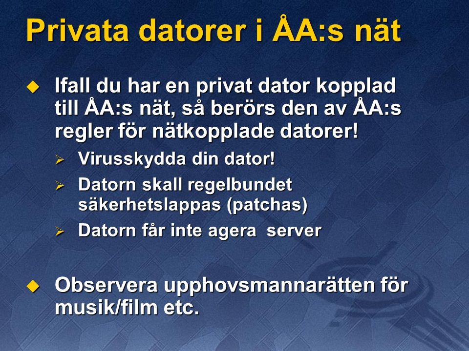 Privata datorer i ÅA:s nät