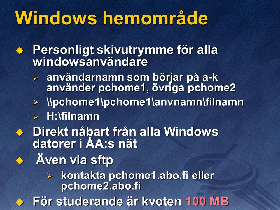 Windows hemområde Personligt skivutrymme för alla windowsanvändare