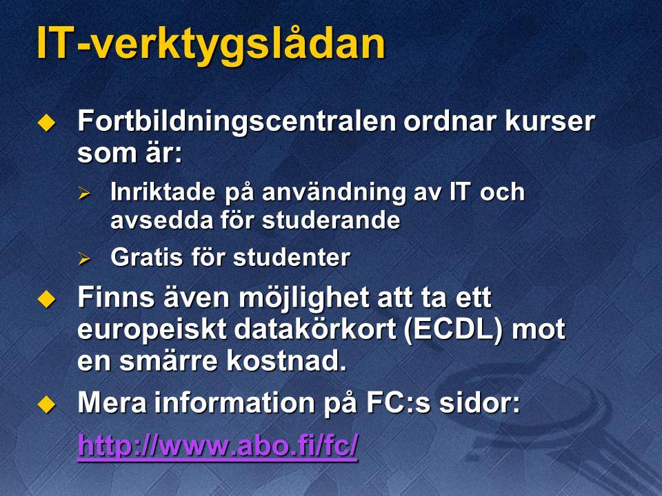 IT-verktygslådan Fortbildningscentralen ordnar kurser som är: