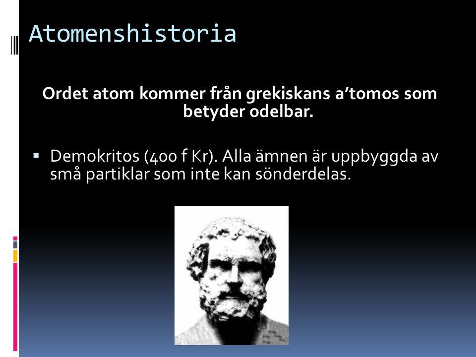 Ordet atom kommer från grekiskans a'tomos som betyder odelbar.