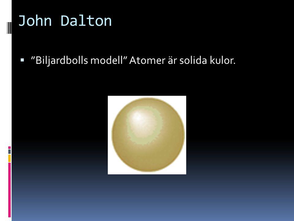 John Dalton Biljardbolls modell Atomer är solida kulor.