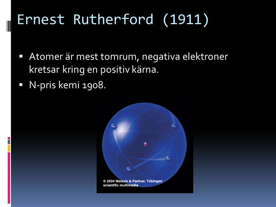Ernest Rutherford (1911) Atomer är mest tomrum, negativa elektroner kretsar kring en positiv kärna.