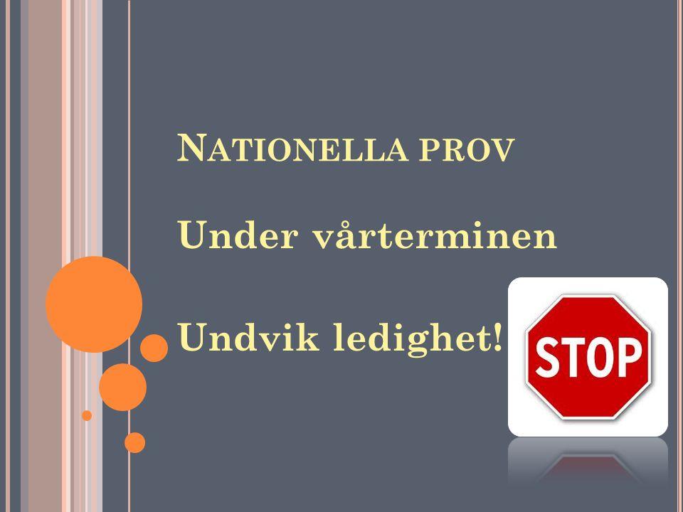 Nationella prov Under vårterminen Undvik ledighet!