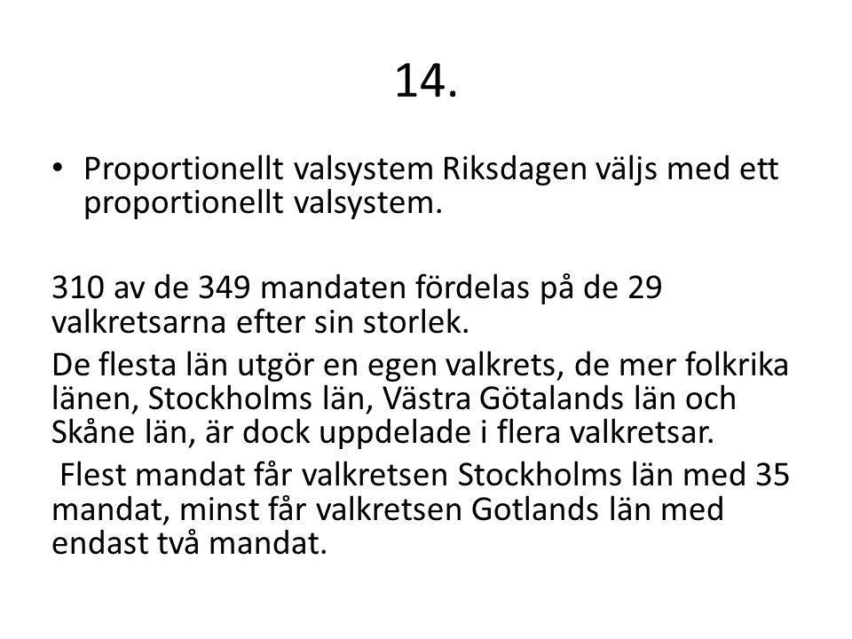 14. Proportionellt valsystem Riksdagen väljs med ett proportionellt valsystem.
