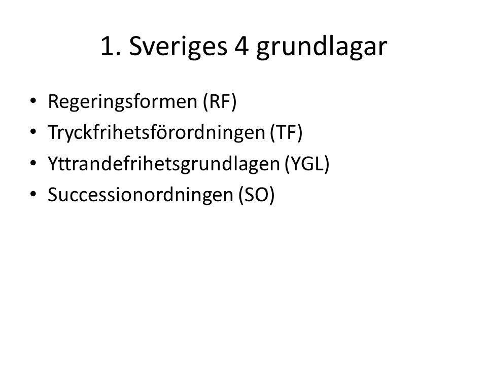 1. Sveriges 4 grundlagar Regeringsformen (RF)