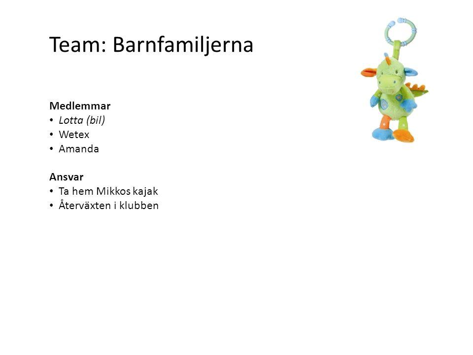 Team: Barnfamiljerna Medlemmar Lotta (bil) Wetex Amanda Ansvar