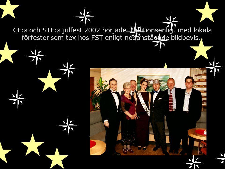 CF:s och STF:s julfest 2002 började traditionsenligt med lokala förfester som tex hos FST enligt nedanstående bildbevis..