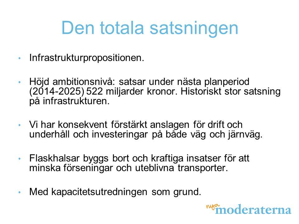 Den totala satsningen Infrastrukturpropositionen.