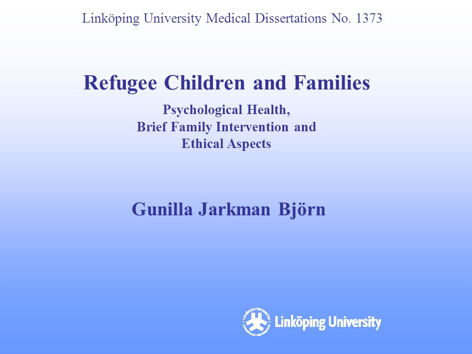 Refugee Children and Families Brief Family Intervention and