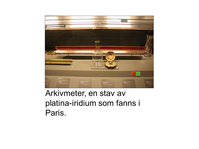 Arkivmeter, en stav av platina-iridium som fanns i Paris.