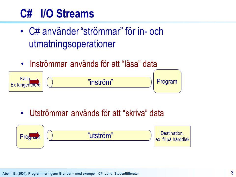 C# I/O Streams C# använder strömmar för in- och utmatningsoperationer. inström Inströmmar används för att läsa data.