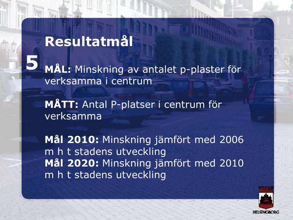5 Resultatmål MÅL: Minskning av antalet p-plaster för
