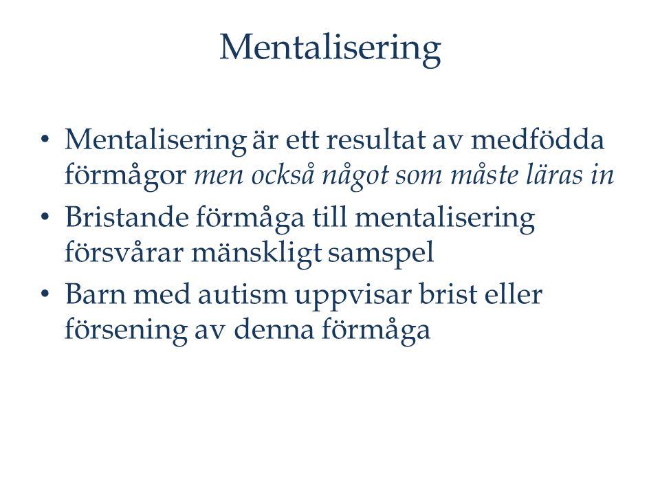 Mentalisering Mentalisering är ett resultat av medfödda förmågor men också något som måste läras in.