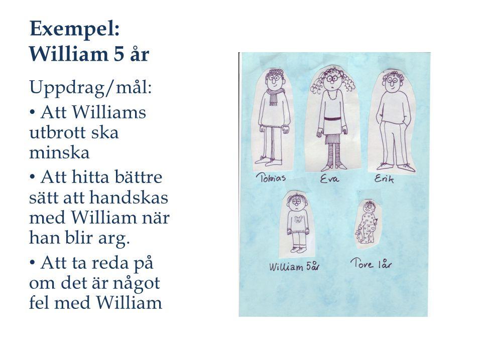 Exempel: William 5 år Uppdrag/mål: Att Williams utbrott ska minska
