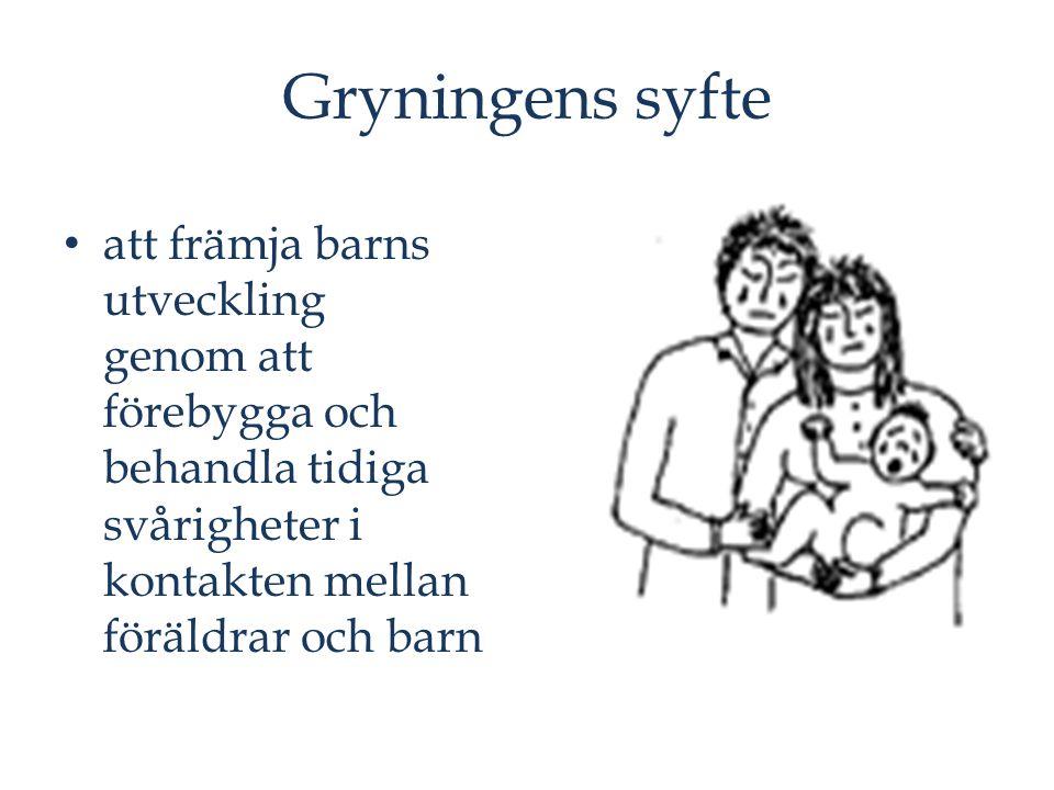 Gryningens syfte att främja barns utveckling genom att förebygga och behandla tidiga svårigheter i kontakten mellan föräldrar och barn.