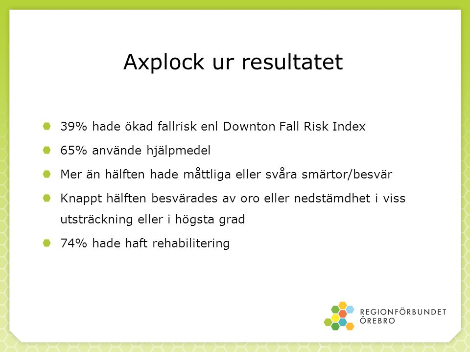 Axplock ur resultatet 39% hade ökad fallrisk enl Downton Fall Risk Index. 65% använde hjälpmedel.