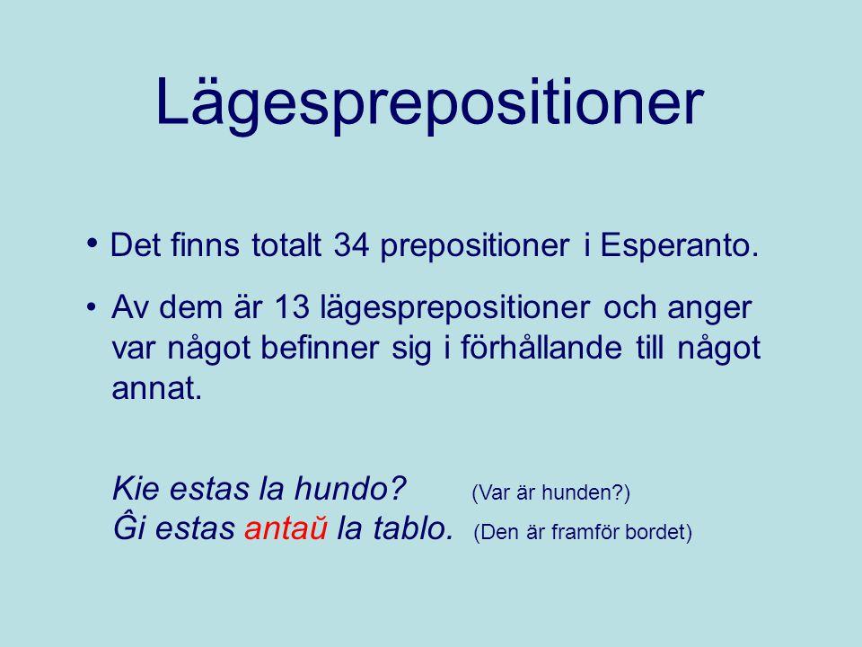 Lägesprepositioner Det finns totalt 34 prepositioner i Esperanto.