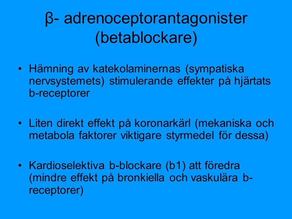 β- adrenoceptorantagonister (betablockare)