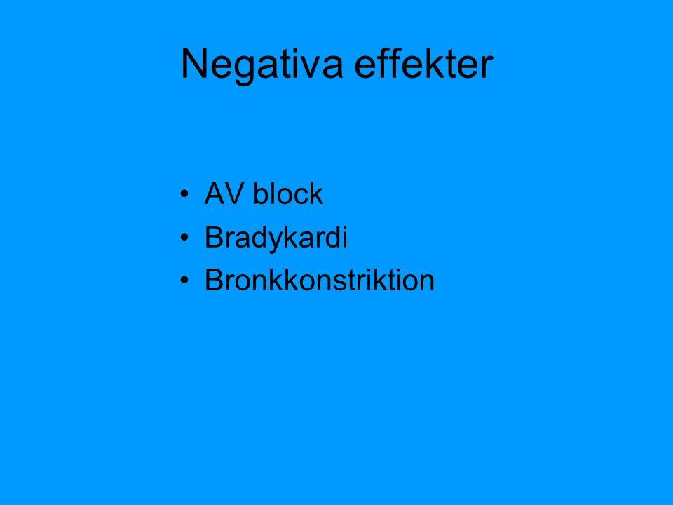 Negativa effekter AV block Bradykardi Bronkkonstriktion