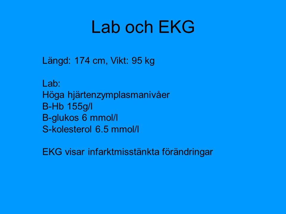 Lab och EKG Längd: 174 cm, Vikt: 95 kg Lab: