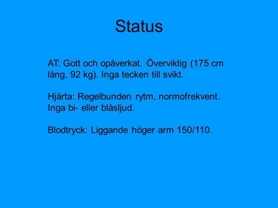 Status AT: Gott och opåverkat. Överviktig (175 cm lång, 92 kg). Inga tecken till svikt.