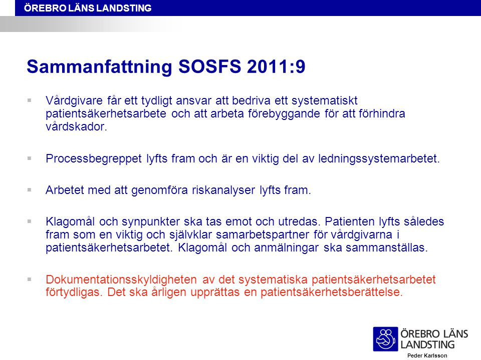Sammanfattning SOSFS 2011:9