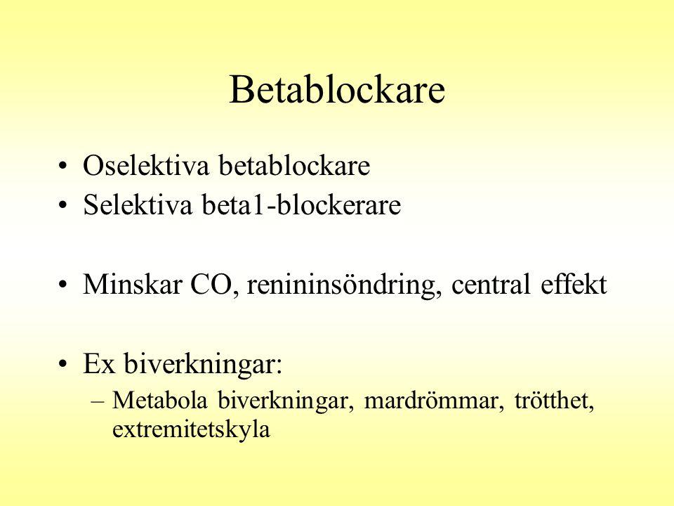 Betablockare Oselektiva betablockare Selektiva beta1-blockerare