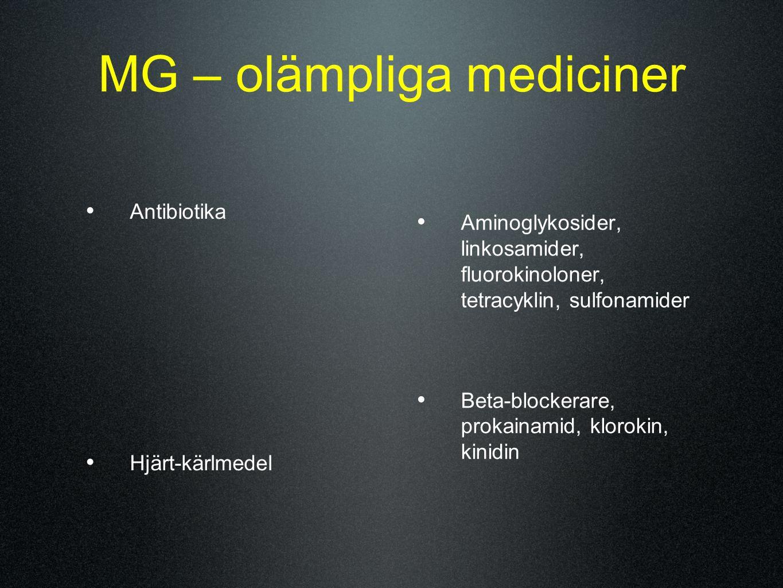 MG – olämpliga mediciner