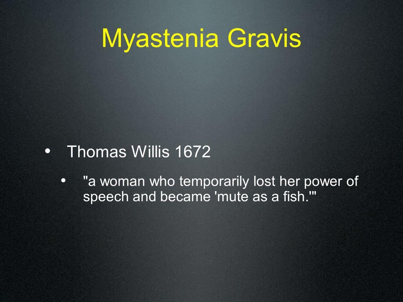 Myastenia Gravis Thomas Willis 1672