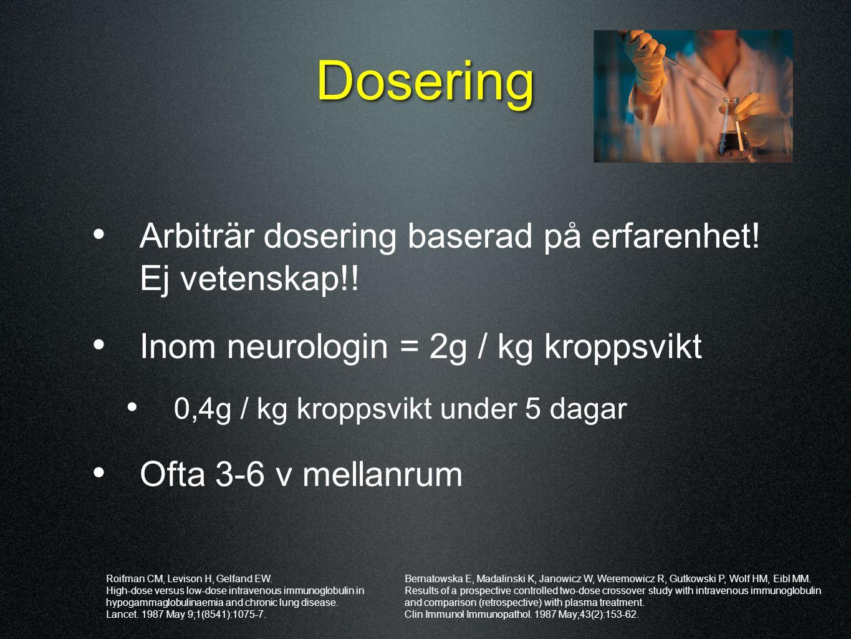 Dosering Arbiträr dosering baserad på erfarenhet! Ej vetenskap!!